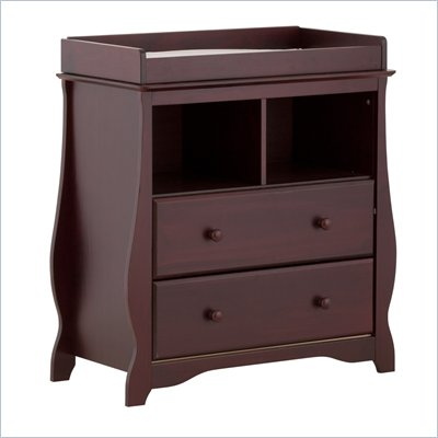 Stork Craft Carrara 2 Drawer Changing Table in Cherry