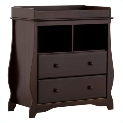 Stork Craft Carrara 2 Drawer Changing Table in Espresso
