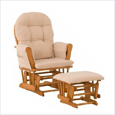Stork Craft Oak Hoop Glider &amp; Ottoman