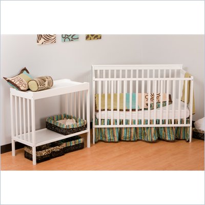 Stork Craft Milan 2-in 1 Crib and Changer Combo in White
