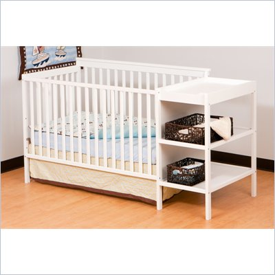 Stork Craft Milan 2-in 1 Crib and Changer in White