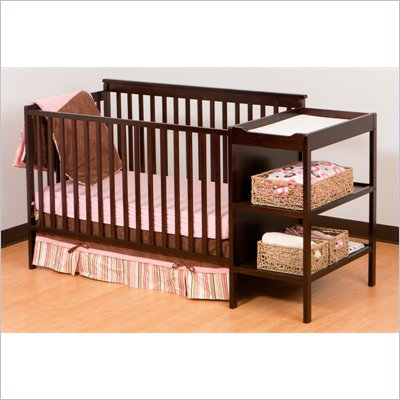 Stork Craft Milan 2-in 1 Crib and Changer Set in Espresso