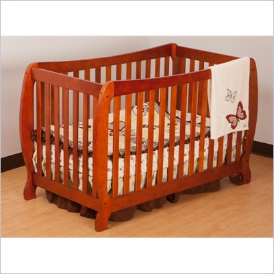 Stork Craft Monza II 2-in 1 Fixed Side Convertible Crib in Cognac