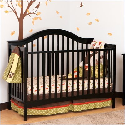 Stork Craft Ravena 2-in 1 Fixed Side Convertible Crib in Black