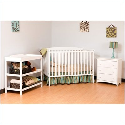 Stork Craft Turin Nursery In a Box in White Finish