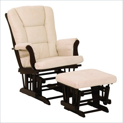 Stork Craft Tuscany Espresso &amp; Beige Glider &amp; Ottoman