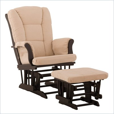 Stork Craft Tuscany Black &amp; Beige Glider &amp; Ottoman