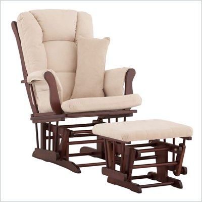 Stork Craft Tuscany Glider and Ottoman with Free Lumbar Pillow in Cherry with Beige cushions