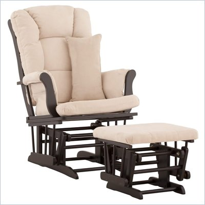 Stork Craft Tuscany Glider and Ottoman with Free Lumbar Pillow in Black with Beige cushions