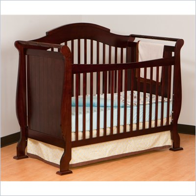 Stork Craft Valentia 4-in-1 Fixed Side Convertible Crib in Cherry