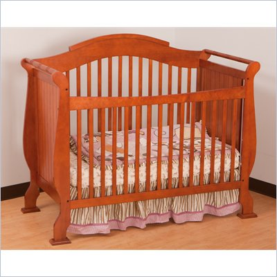 Stork Craft Valentia 4-in-1 Fixed Side Convertible Crib in Cognac