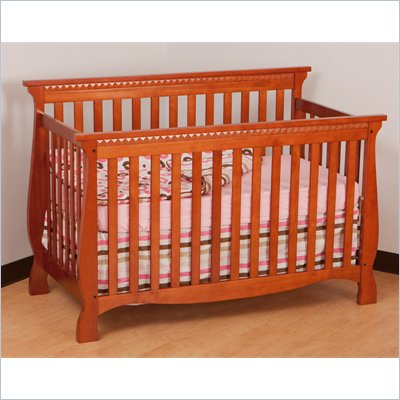 Stork Craft Venetian 4-in-1 Fixed Side Convertible Crib in Cognac