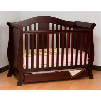Stork Craft Vittoria 3-in-1 Fixed Side Convertible Crib in Cherry