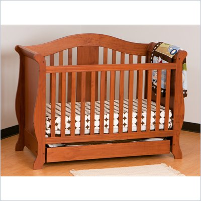 Stork Craft Vittoria 3-in-1 Fixed Side Convertible Crib in Oak