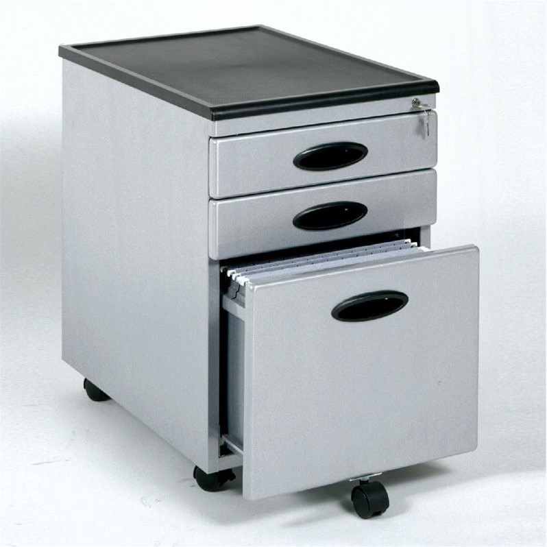 3 Drawer Metal Mobile Filing Cabinet in Silver and Black