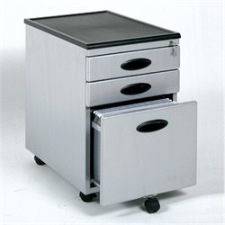 Studio RTA 3 Drawer Metal Mobile Filing Cabinet in Silver and Black