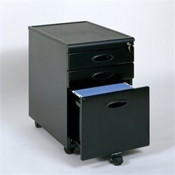 Studio RTA 3 Drawer Metal Mobile Filing Cabinet in Black