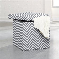 Studio RTA Soft Modern Storage Ottoman in White and Grey Chevron