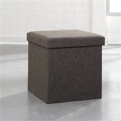 Studio RTA Soft Modern Upholstered Storage Ottoman in Dark Gray Linen