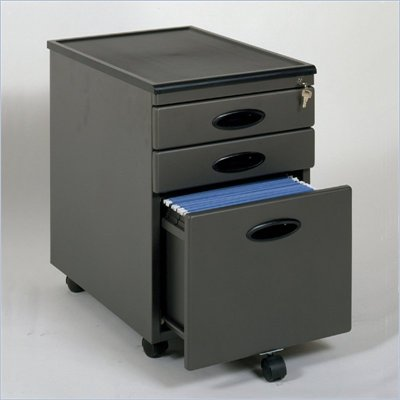 Studio RTA 3 Drawer Mobile Metal File Cabinet in Pewter and Black