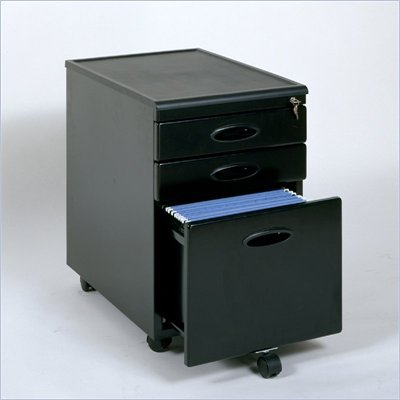 Studio RTA 3 Drawer Mobile Metal File Cabinet in Black
