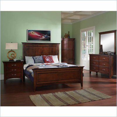Samuel Lawrence Furniture Bridgeport Panel Bed in Dark Merlot Finish