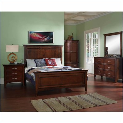 Samuel Lawrence Furniture Bridgeport Wood Panel Bed in Merlot 5 Piece Panel Bedroom Set