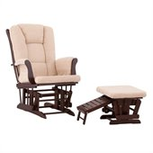 Status Furniture Veneto Glider with Nursing Stool Ottoman - Espresso with Beige Cushions