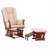 Status Furniture Veneto Glider with Nursing Stool Ottoman - Cognac with Beige Cushions