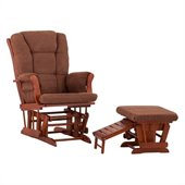 Status Furniture Veneto Glider with Nursing Stool Ottoman - Cognac with Chocolate Cushions