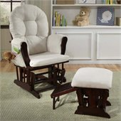 Status Furniture Roma Glider with Nursing Stool Ottoman - Cherry with Beige Cushions