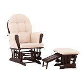 Status Furniture Roma Glider with Nursing Stool Ottoman - Espresso with Beige Cushions