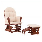 Status Furniture Roma Glider with Nursing Stool Ottoman - Cognac with Beige Cushions