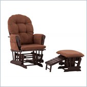 Status Furniture Roma Glider with Nursing Stool Ottoman - Espresso with Chocolate Cushions