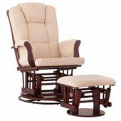 Status Furniture Milano Swivel Glider with Ottoman - Cherry with Beige Cushions