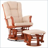 Status Furniture Milano Swivel Glider with Ottoman - Cognac with Beige Cushions