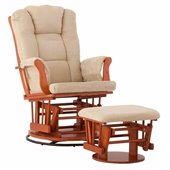 Status Furniture Milano Swivel Glider with Ottoman - Cognac with Sage Cushions