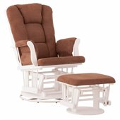 Status Furniture Milano Swivel Glider with Ottoman - White with Chocolate Cushions