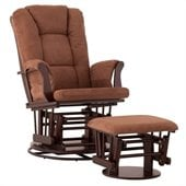 Status Furniture Milano Swivel Glider with Ottoman - Espresso with Chocolate Cushions