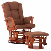 Status Furniture Milano Swivel Glider with Ottoman - Cognac with Chocolate Cushions