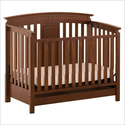 Status Furniture Brookfield Stages Convertible Wood Baby Crib in Mahogany