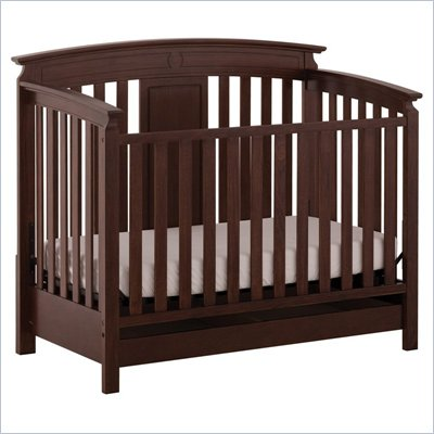 Status Furniture Brookfield Stages Convertible Wood Baby Crib in Espresso