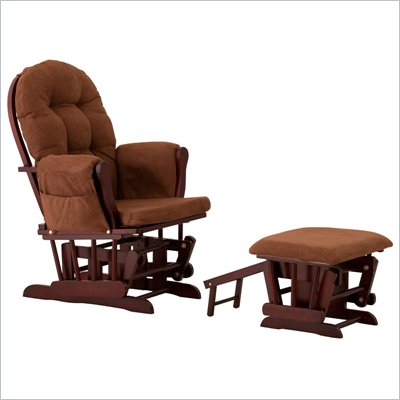 Status Furniture Roma Glider with Nursing Stool Ottoman - Cherry with Chocolate Cushions