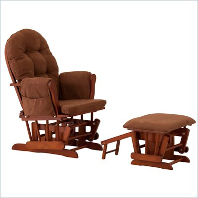 Status Furniture Roma Glider with Nursing Stool Ottoman - Cognac with Chocolate Cushions
