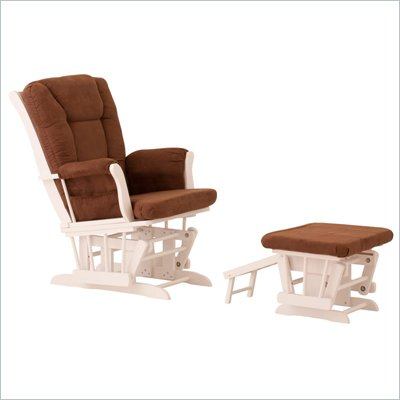 Status Furniture Veneto Glider with Nursing Stool Ottoman - White with Chocolate Cushions