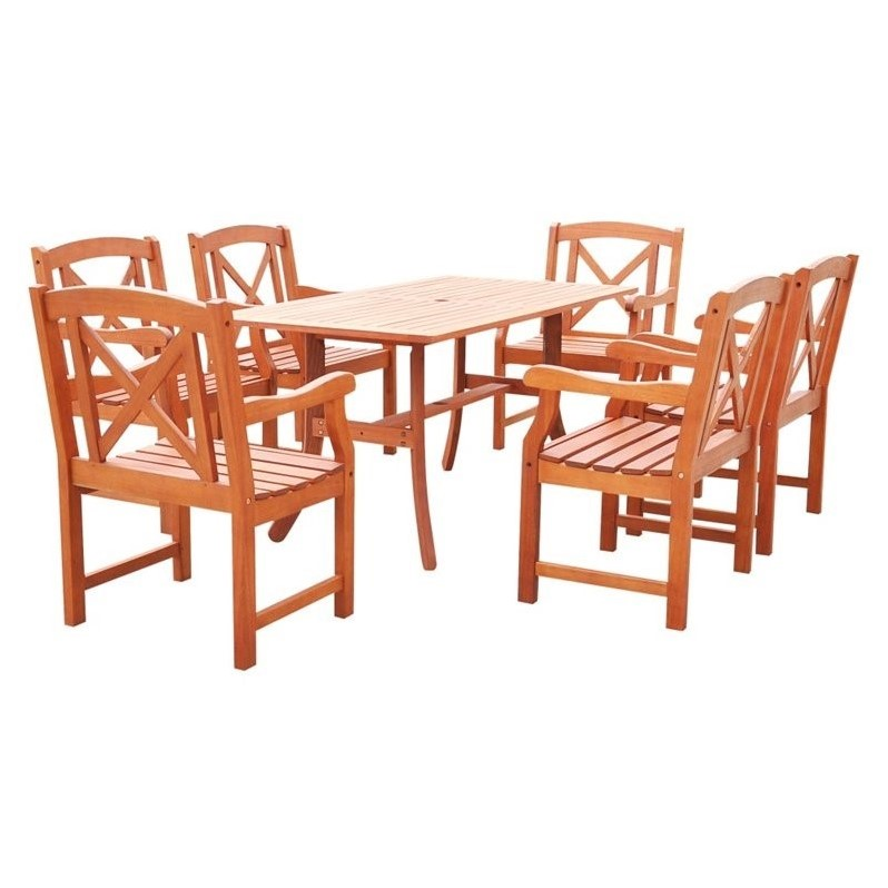 Vifah Malibu 7 Piece Patio Dining Set in Natural