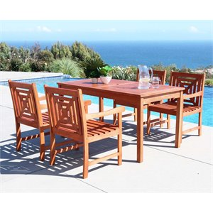 Vifah V98SET42 Malibu Eucalyptus Dining Set Including Chairs and Dining Table Natural Wood