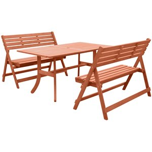 Vifah Malibu 3 Piece Patio Dining Set in Brown - V189SET37