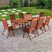 Vifah Vista Mahogany Shorea Hardwood 9 Piece Dining Set 2