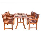 Vifah Atlantic Rectangular Hardwood Table & Armchair Dining Set 